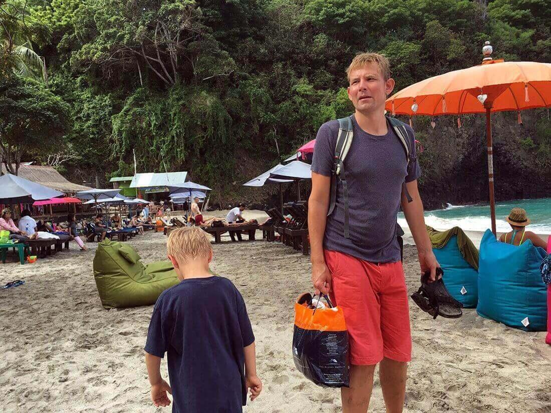 Peter og Sebastian, Virgin Beach, Bali