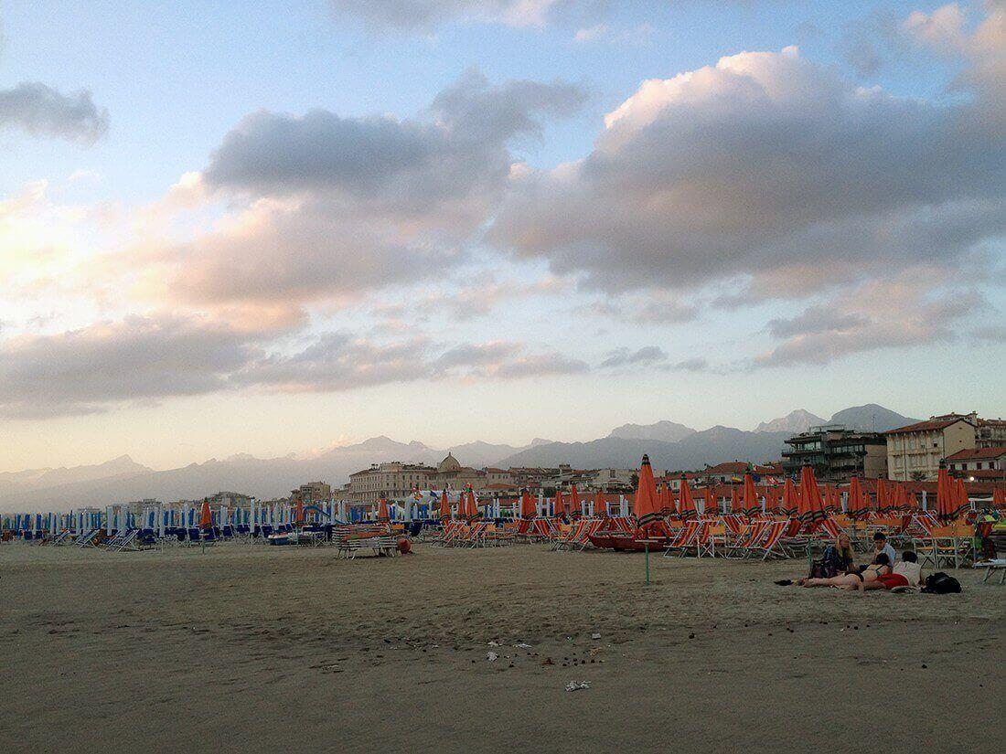 Stranden i Viareggio, Italien