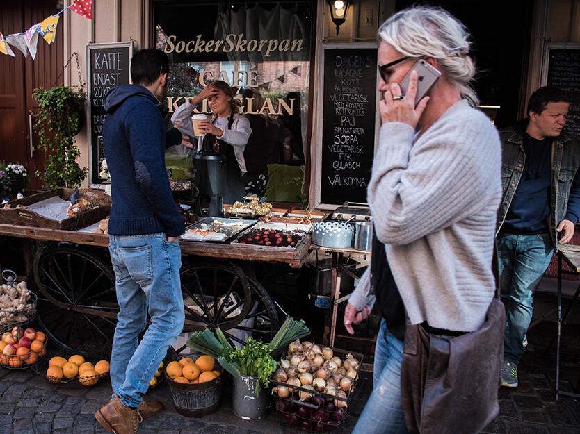 Der er mange små delikatesse butikker i Haga, Göteborg