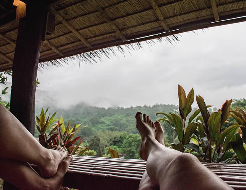 Udsigten ud over bjergene blev vores daglige fornøjelse i Mae Sa Valley