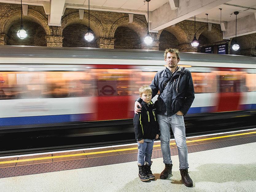 Vi gik 17 km den dag, også selvom vi havde købt et dagskort til Metroen. London.