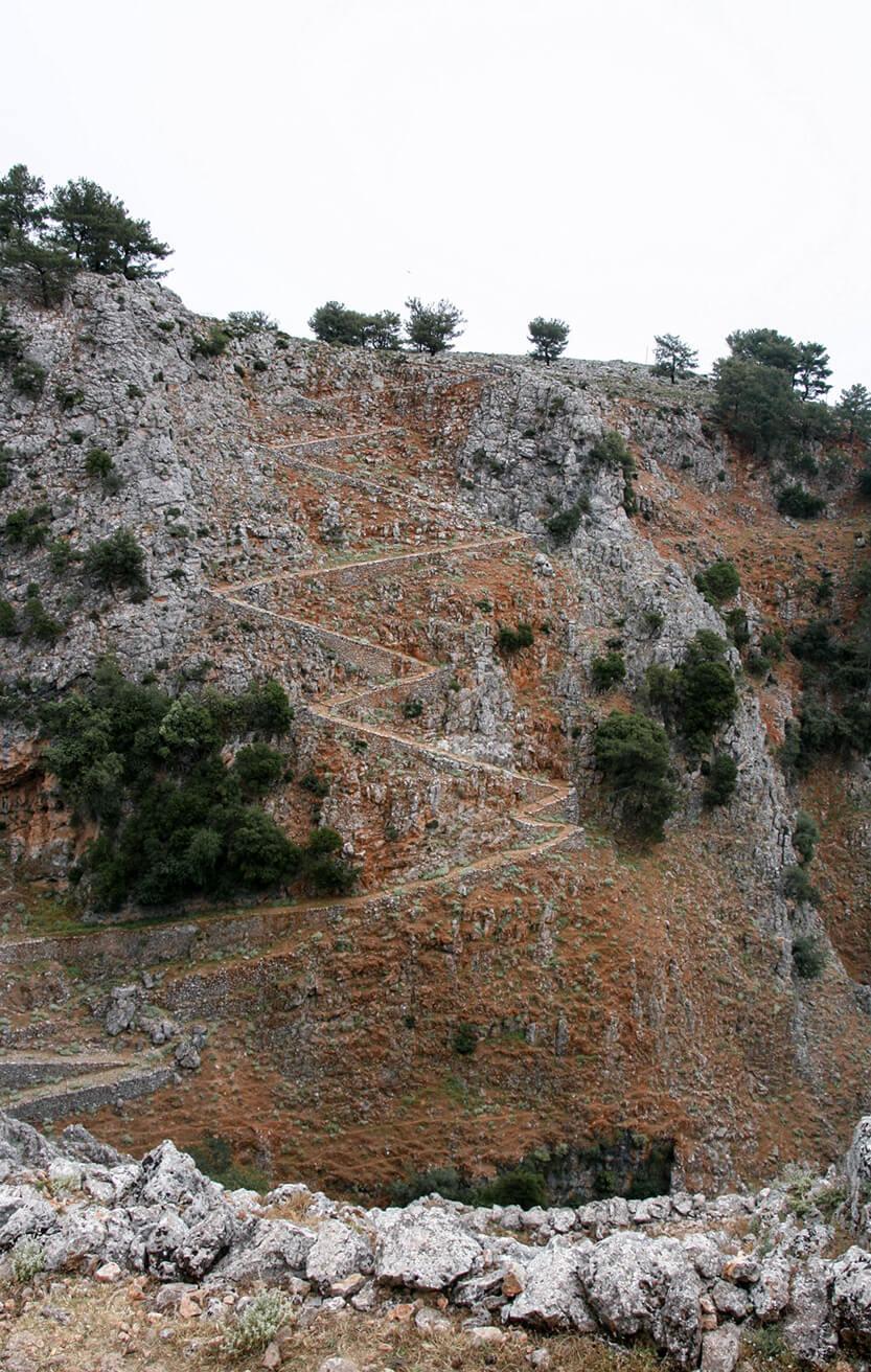 Zigzagget vej ned til Aradena Gorge. Sydkreta. Grækenland.