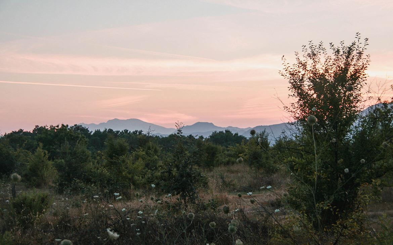 Solnedgang over Linguizettas slette