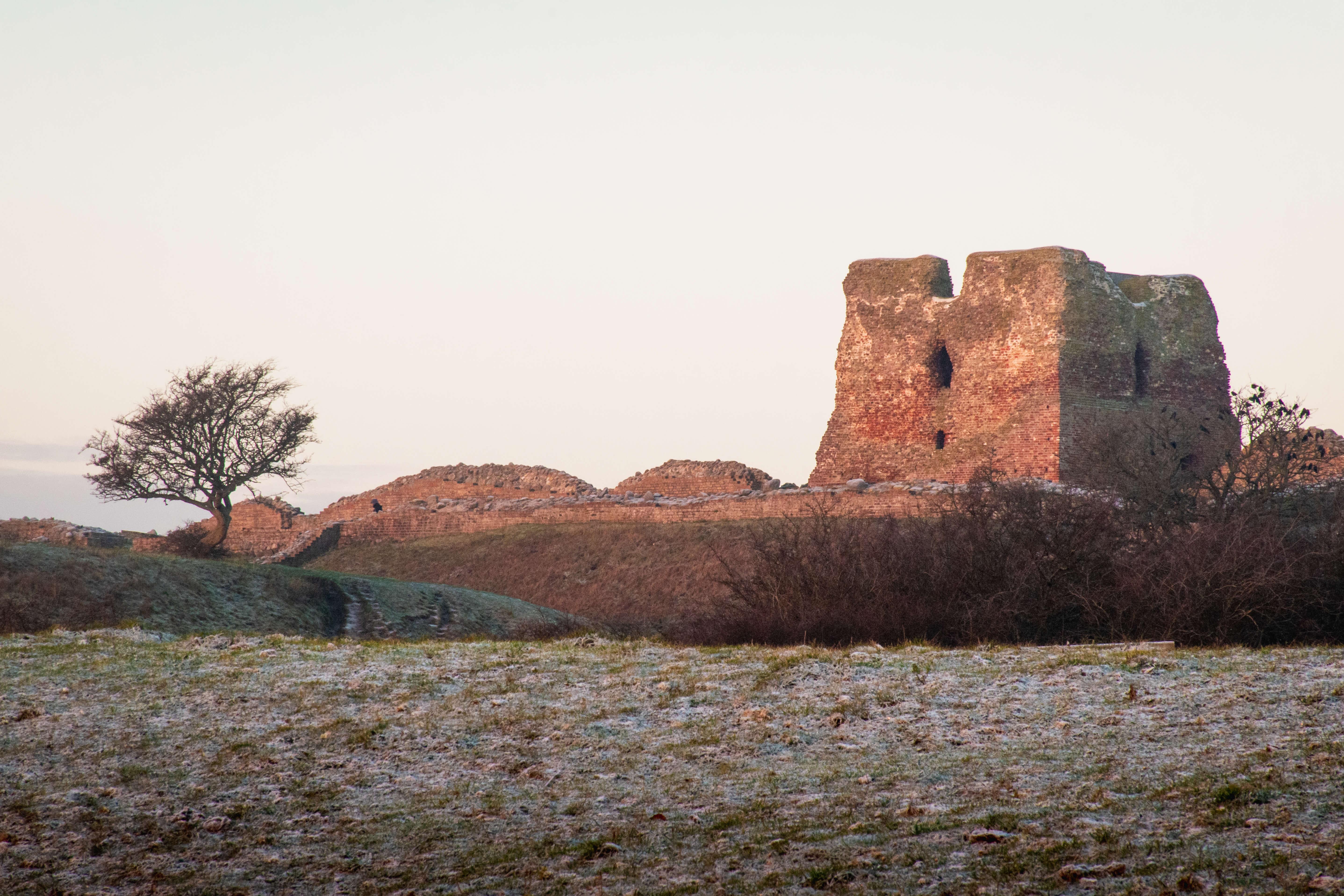 Solen står op over Kalø Slotsruin, Mols Bjerge