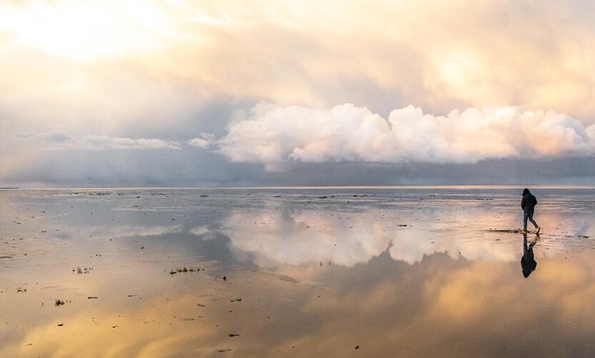 Vilde skyformationer på stranden ved Sønderho, Fanø