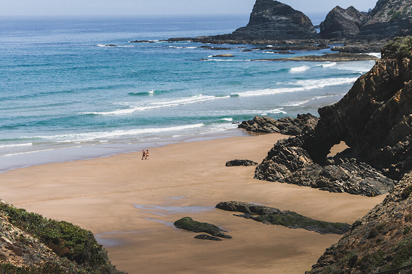 Naturiststrand en af Portugals vestlige strande