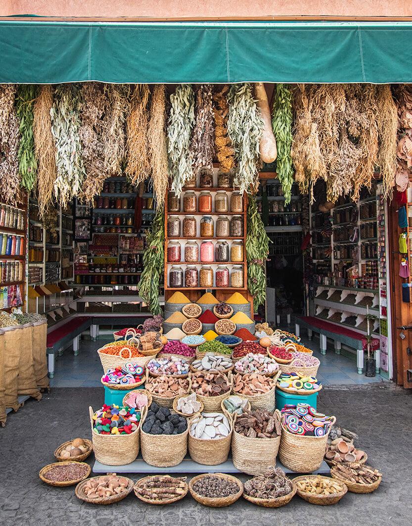 Der er ingen grænser for hvilke krydderier, du kan købe dig til på markederne i Marrakech