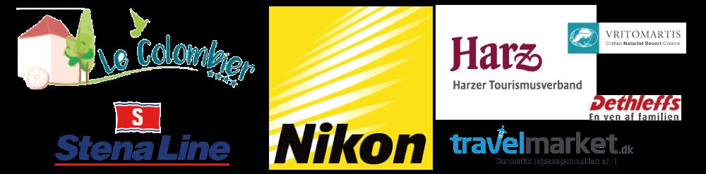 Samarbejde med Nikon, Harzer Turismusverband, Stena Line, Le Colombier, Vritomartis, Travelmarket.dk, Dethleffs,