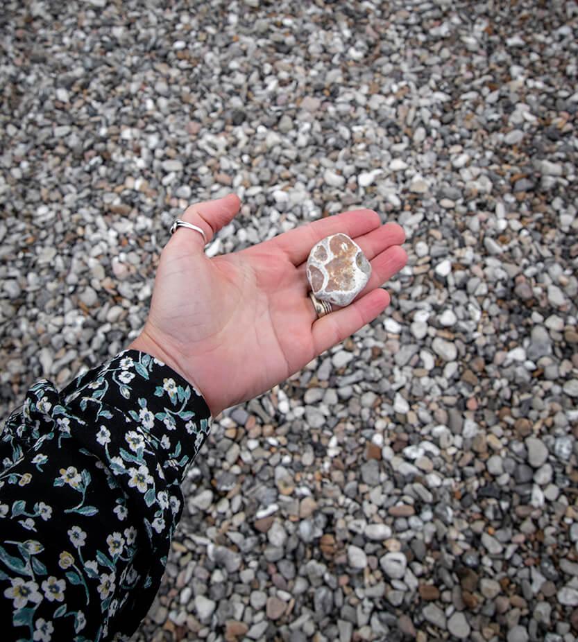 Der er mange spændende sten ved Sletterhage Fyr