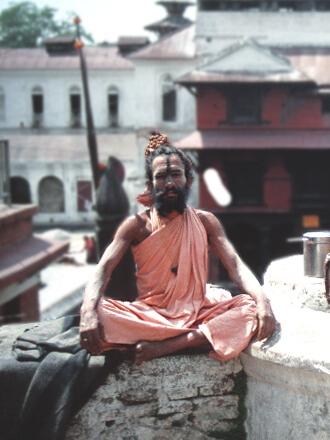 Helligmand ved Ganges, Varanasi, Indien